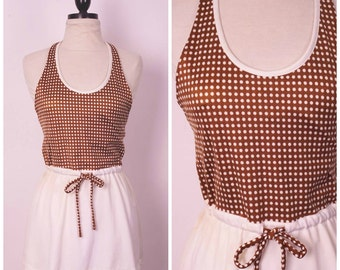 polka dot tennis dress 70s brown mini halter top sporty summer backless dress with short skirt Fitness Clothing small medium