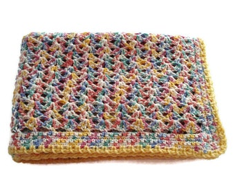 Crocheted Cotton Soft Rainbow Multicolor Open Shell Stitch Baby Infant Blanket Afghan for Baby Gender Neutral Shower Present Gift