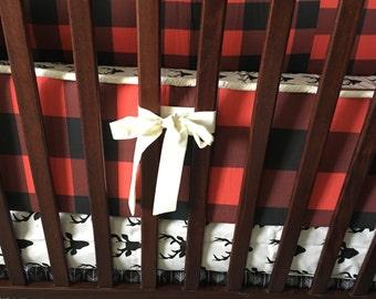 Custom Crib Bedding Deer Plaid Arrow in Red and Black