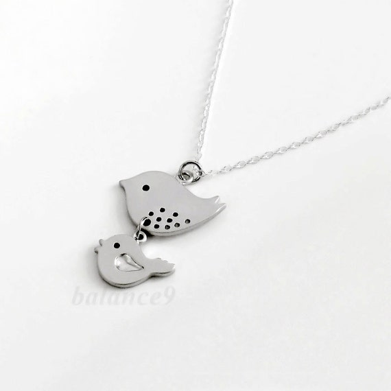 Mama bird baby bird Necklace, sterling silver chain, delicate small charm pendant, mother love, holidays gift, everyday jewelry, by balance9