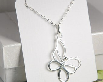 Sterling silver butterfly necklace, entirely made with sterling silver, 0.925 silver, everyday dainty jewelry, gift