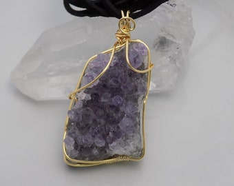 Small Amethyst Cluster Wire Wrapped Pendant in Gold Parawire Wire Wrapped Jewelry Handmade Crystal Healing Cosplay Fantasy