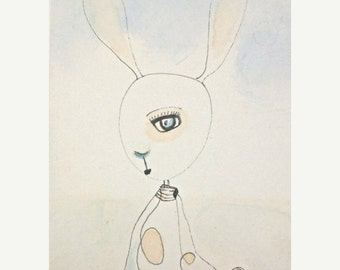 ON SALE Shy Bunny- High quality Print from Original on Japanese Paper- Watercolor-Ink- Sky Blue-Peach-For Nursery