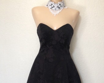 Vintage Black Gown with White Lace Collar - Small