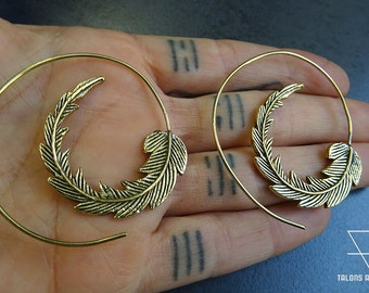 Boucles d'oreille spirale feuille # laiton # brass earring