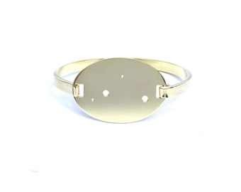 Libra High Polished Raw Brass Zodiac Constellation Oval Bracelet