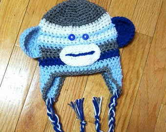 Boys sock monkey hat! Blue sock monkey hat! Baby monkey hat! Infant monkey hat! Kids blue monkey hat! Free Shipping
