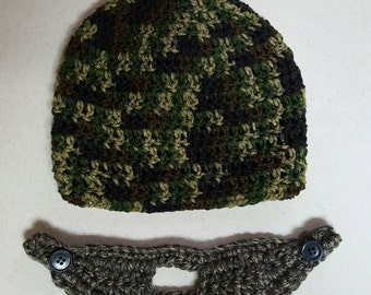 Boys crochet camo beard hat! Adult Crochet Camo beard hat! Free shipping