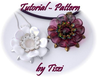 Beading pattern/Tutorial for beaded pendant Urzula with petals, daggers, swarovski flowers, PDF instructions, Step by step