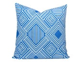 "Cobalt Geometric Pillow Cover, Royal Blue Pillow Euro Sham Throw Pillows ONE pillow cover Blue Decorator Pillow 18x18 inch ALL SIZES 20"" 16"""