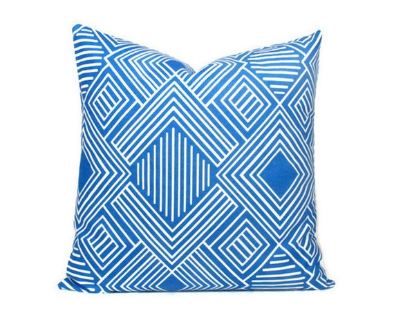 Throw Pillows Royal Blue : Items similar to Cobalt Geometric Pillow Cover, Royal Blue Pillow Euro Sham Throw Pillows ONE ...