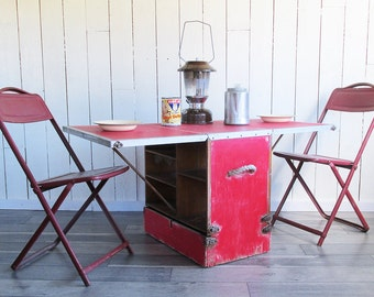 "Mid Century Home-made Camping Kitchen - Camping Chest - Portable Table ""Lots of Character"""