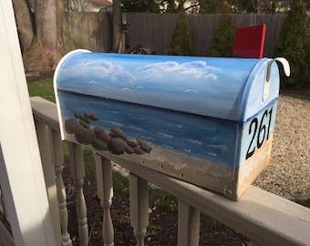 Decorative Mailbox hand painted custom order ocean scene beach mailbox