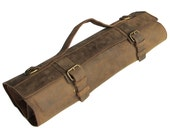 Leather Knife Roll, Leather Chefs Bag, Knife Case, Chef Bag, Knife Bag, Chef's Roll - Tuareg X - Brass Buckle