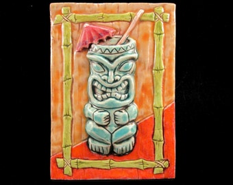 Ceramic Art Tile, RETRO TIKI GLASS - Bright Orange, 4 x 6 Handmade Tile, Wall Art