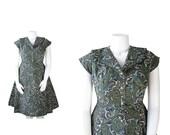 NOS 1950s dress • NWT 50s Green Floral Day Dress • L / XL