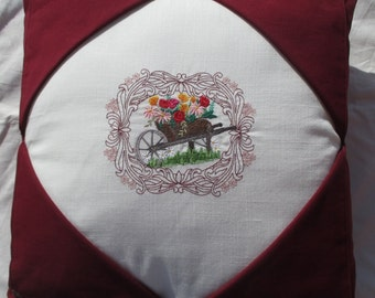Gardeners WheelbarrowPicture Decorative  Burgandy Pillow