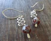 Spotty Agate Sterling Silver Earrings, Modern Earrings, Spiral Earrings on Etsy.