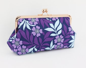 Purple Floral Bridesmaids Frame Clutch / Lilac Wedding Clutch Purse / Gift for Wedding - the Emma Style Clutch