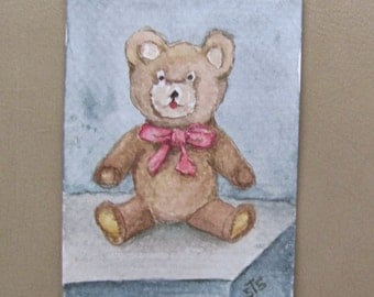 ACEO Original Ink and Watercolor Painting Teddy Bear Clear Plastic Display Magnet Frame  Minature Painting