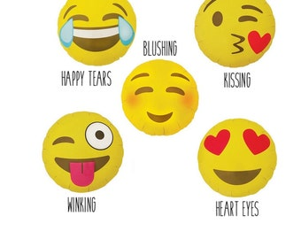 Sale EMOJI BALLOONS Poop Pile of Poo Blushing Laughing Crying Heart Eyes Emoticon Trendy Fun Funny Birthday Shower Silly Smiley Face
