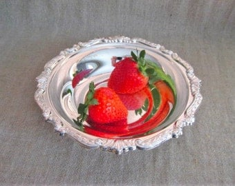 Pretty Silver Plate Trinket / Candy Dish / Shabby Silver Plate Dish for Vanity, Home or Wedding Decor / Sheridan Silverplate Dish
