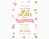 Pink and Gold Baby Shower Invitation, Gold Glitter, Polka Dots, Baby Girl, Printable Baby Shower Invitation