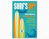Surfboard Birthday Party Invitation, Surfing Birthday Party Invitation, Boy theme, Blue, Green, Wave Birthday Party Invitation