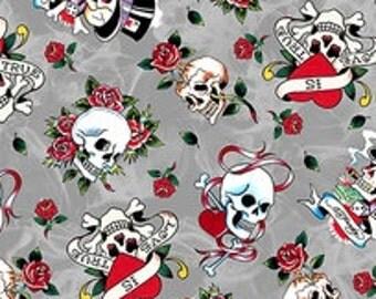 Ed Hardy Love Is True Medium Gray Tossed Skulls Fabric - 1 yard