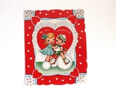 Vintage Valentine- 1950s Valentine Card with Boy and Girl