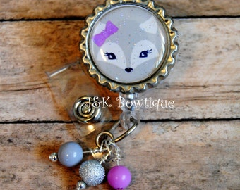 Fox Retractable Badge Reel....grey, white with purple bow