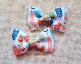 Feathers print...Pigtail Mini Bows