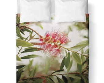 Duvet Cover/ Red Green White Nature  / Bedding/ Comforter Cover/ Twin, Queen, King/ Leaves