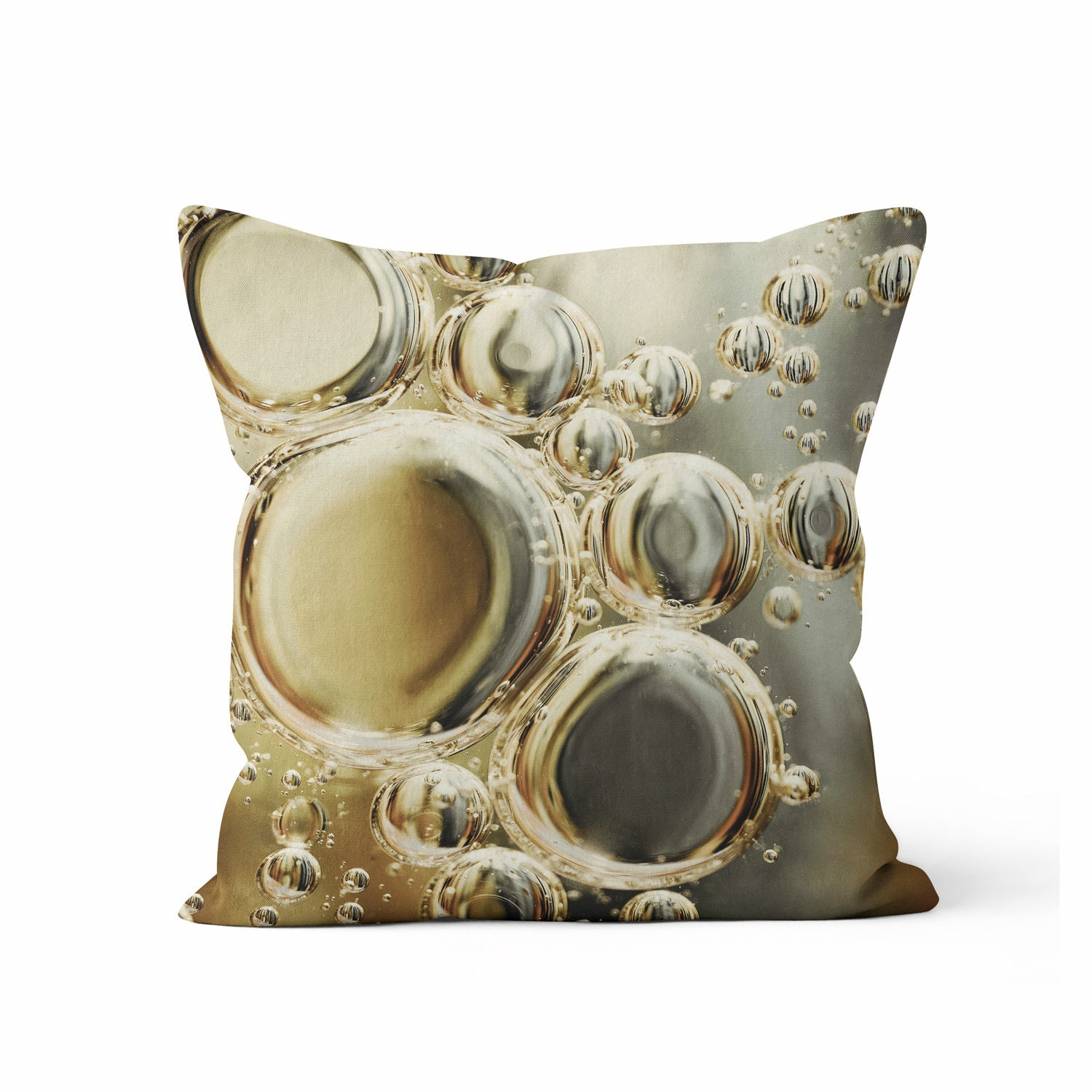 gold silver bubbles decorative throw pillow case gold and. Black Bedroom Furniture Sets. Home Design Ideas
