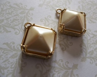 Ivory Glass Charms - 12mm Czech Glass Cream Pearl Pyramid Stud Charms - Pendants in Brass - Qty 2