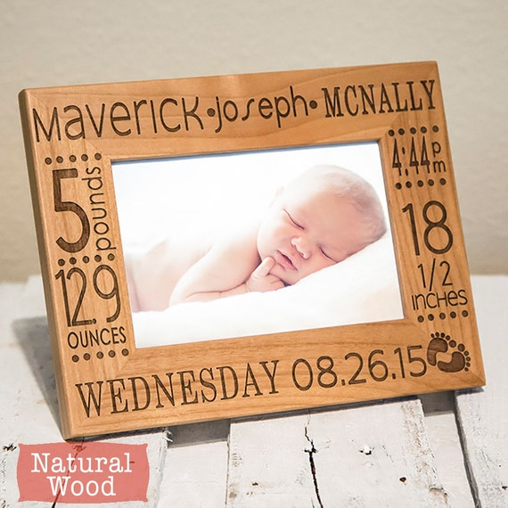 Personalized baby picture frame birth announcement baby gift like this item negle Image collections