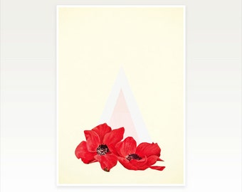 Modern Geometric Art, Poppy Flower Print - Floral Triangle