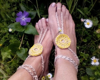 Yellow boho anklets Bohemian Accessories crochet Nude shoes Yoga anklets Hippy Barefoot sandals Beach Wedding
