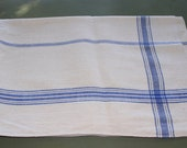 Vintage Blue Check Table Cloth. Rustic Hungarian Linens.  Medium. Excellent Condition