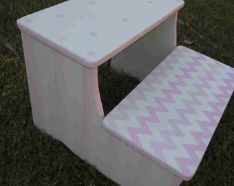 Step Stool Girls, Kids Furniture, Pink, childs step stool, BENCH, Kids wooden Stools, Bathroom Stools, Nursery, Personalized