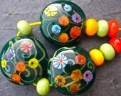 Petites Fleurs - Handmade Lampwork Bead Set (11) by Anne Schelling, SRA