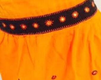 Orange Cotton Embellished Festival Boho Skirt