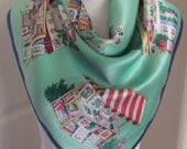 """Talbots // Beautiful Green Colorful Soft Silk Scarf  // 28"""" Inch 70cm Square // Best of the Best NWT"""