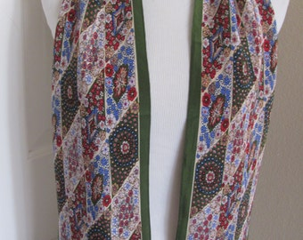 "Echo // Green Floral Skinny Silk Scarf // 8"" x 60"" Long // Best of the Best"