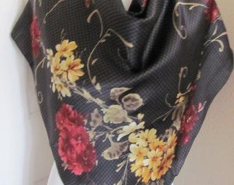 """ECHO // Black Floral Soft Silk Scarf  // 36"""" Inch 92cm Square // My Fav"""