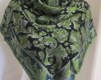 """Express Large Green Paisley Rayon Fashion Scarf  - 30"""" Inch 76cm Square"""