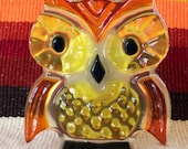 1960s Vintage Lucite Owl Night Light, Plug In Night Light, Gift for Owl Collectors