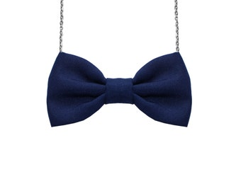 Navy Blue - Bow Tie Necklace - Dark Blue, Women and Girls Adjustable Pretied Bowtie