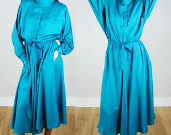 Vintage 1980s Turquoise Blousy Dress