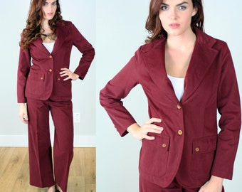 Vintage 1970s Women's Burgundy Pant Suit | Veronica Corningstone